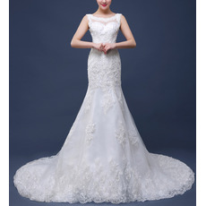 Elegant Sheath Round Neckline Court Train Organza Wedding Dresses