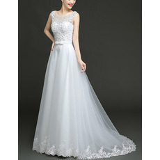 Custom A-Line Floor Length Beaded Bodice Taffeta Organza Wedding Dress
