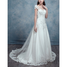 Elegantly Beading Appliques Illusion Neckline Tulle Wedding Dress with Cap Sleeves