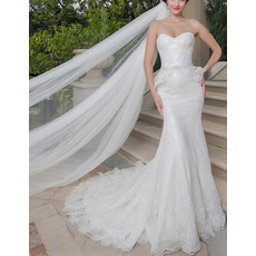 Sexy Sheath Sweetheart Sleeveless Sweep Train Lace Wedding Dresses