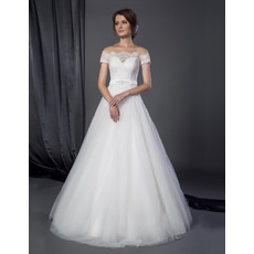 2018 Classic A-Line Off-the-shoulder Tulle Wedding Dresses with Short Sleeves