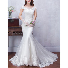 Custom Sexy Sheath Cap Sleeves Sweep Train Satin Tulle Wedding Dresses