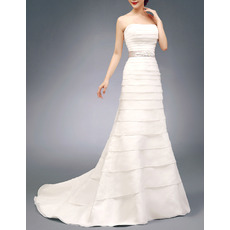 Inexpensive Strapless Satin Organza Layered Wedding Dresses with Belts