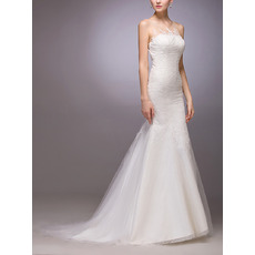 Sexy Sheath/ Column Sleeveless Sweep Train Tulle Satin Wedding Dresses