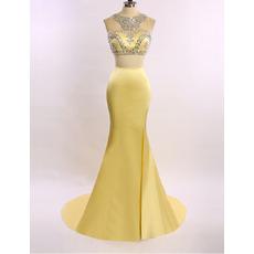 New Style Sheath Sweep Train Satin Tulle Evening Dresses