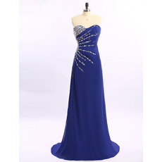 Elegant Sweetheart Sweep Train Chiffon Rhinestone Evening Dresses