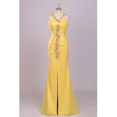 Sheath Halter Floor Length Chiffon Backless Evening Dresses