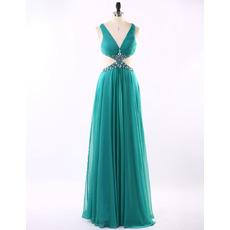 New Style V-Neck Floor Length Chiffon Evening/ Prom Dresses