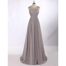 Custom Sleeveless Floor Length Chiffon Chain Evening/ Prom Dresses