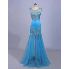 Affordable Trumpet Sleeveless Floor Length Organza Evening Dresses