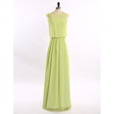 Elegant Column Sleeveless Floor Length Chiffon Solid Evening Dresses