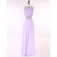 Custom Sleeveless Floor Length Chiffon Pleated Evening/ Prom Dresses