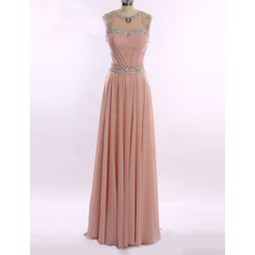 Elegant Sleeveless Floor Length Chiffon Rhinestone Evening Dresses