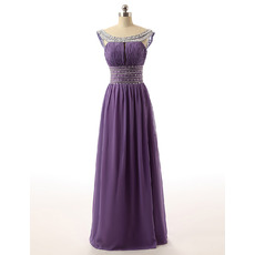 Round Neck Floor Length Chiffon Rhinestone Evening Dresses