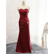Sexy Sheath Sweetheart Floor Length Satin Pleated Evening Dresses