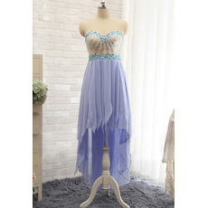 2017 Sweetheart High-Low Chiffon Tasseled Skirt Prom/ Evening Dresses