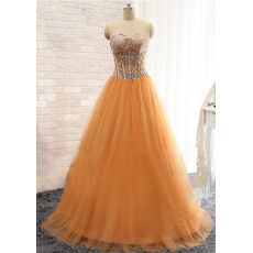 Custom Ball Gwon Sweetheart Floor Length Satin Tulle Evening Dresses