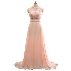 Custom Sleeveless Sweep Train Chiffon Two-Piece Evening Dresses