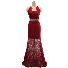 Affordable Sheath Sleeveless Sweep Train Lace Backless Evening Dresses