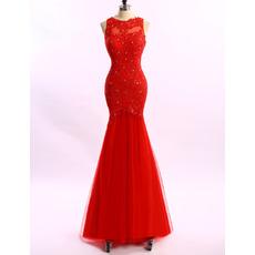 2017 New Trumpet Sleeveless Floor Length Applique Evening Dresses