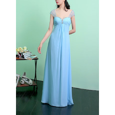 Charming Sweetheart-neckline and Scoop Back Empire Cap Sleeves Chiffon Evening Dresses with Crystal Beaded