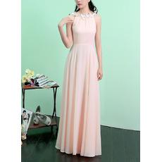 Inexpensive Scoop Neck Sleeveless Long Length Chiffon Evening Dresses