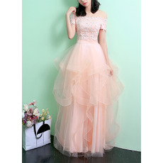 Tailored Off-the-shoulder Short Sleeves Tulle Skirt Evening Dresses with Appliques Beaded