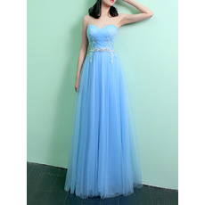 Inexpensive Sweetheart Full Length Satin Tulle Evening Dresses with Applique and Beaded
