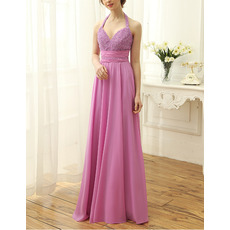Dramatic Halter Sweetheart Brush Train Chiffon Beading Bodice Evening Dresses with Low Back