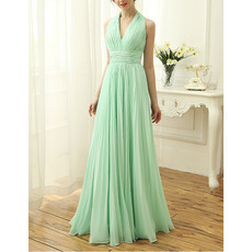 Ethereal Halter V-Neck Sleeveless Brush Train Chiffon Pleated Evening Dresses with Low Back