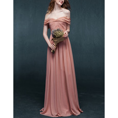 Discount Simple Off-the-shoulder Full Length Chiffon Evening Dresses with Ruched Bodice