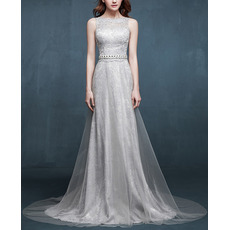 Elegance Sleeveless Tull Over Lace Evening Dress with Crystal Beaded Neckline and Waist