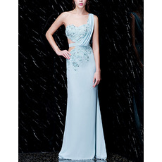Sexy One Shoulder Brush Train Chiffon Prom / Formal Evening Dresses with Appliques Beaded