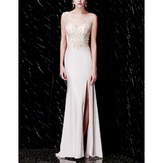 Feminine V-Neck Beading Chiffon Tulle Prom / Formal Evening Dresses with Side Slit