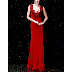Fashionable Sheath Cowl Neck Sweetheart Full Length Elastic Woven Satin Evening Dresses