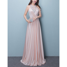 Dramatic Beaded Halter Sleeveless Full Length Elastic Woven Satin Pleated Evening Dresses