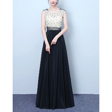 Discount Color Block Sleeveless Full Length Lace Chiffon Beading Evening Dresses