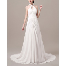 Glamorous Beaded Keyhole Neck Sleeveless Court Train Chiffon Wedding Dresses/ Sexy Low Back Beach Bride Gowns