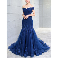 Modern Trumpet Off-the-shoulder Sweep Train Tulle Evening Dresses with Ruched Bodice