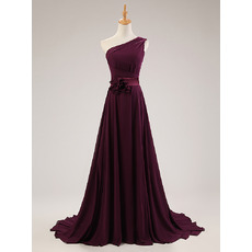Understated One Shoulder Court Train Grape Chiffon Evening Dresses with Belts and Handmade Flowers