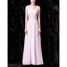 Glamorous Sweetheart Long Length Pleated Chiffon Evening Dresses with Wide Straps and Beaded Waist