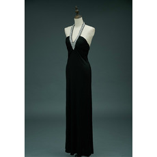 Dramatic Halter Deep V-neckline Full Length Satin Black Evening Dresses with Delicate Beaded