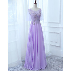 Feminine Illusion Sweetheart Neckline Full Length Chiffon Evening Dresses with Appliques Beaded