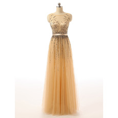 Feminine Illusion Sweetheart Neckline Sleeveless Full Length Tulle Beading Evening Dresses