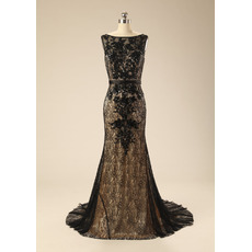 Stunning V-back Sheath Sleeveless Long Train Black Lace Satin Evening Dresses with Appliques Beaded