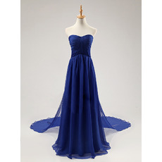 New Arrival Simple Sweetheart Long Train Royal Blue Chiffon Evening Dresses with Ruched