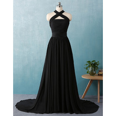 Elegant Cross Neckband Court Train Pleated Chiffon Black Evening Dresses