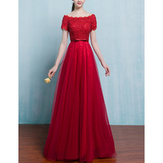 Inexpensive Bateau Neckline Tulle Applique Beaded Evening Dresses with Short Sleeves
