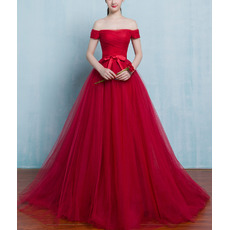 Sexy Simple A-Line Off-the-shoulder Sweep Train Tulle Formal Evening Dresses with Ruched
