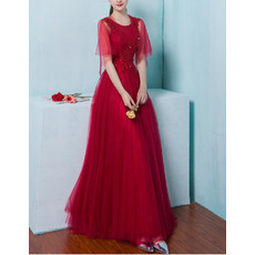 Feminine A-Line Open Back Sleeveless Full Length Tulle Evening Dresses with Beaded Appliques